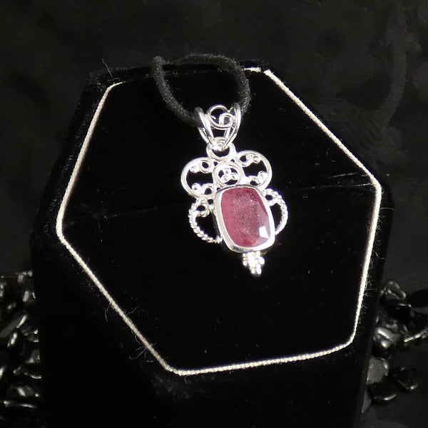 Faceted Ruby Sterling Silver Pendant (765)