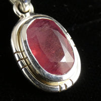 Faceted Ruby Sterling Silver Pendant (768)