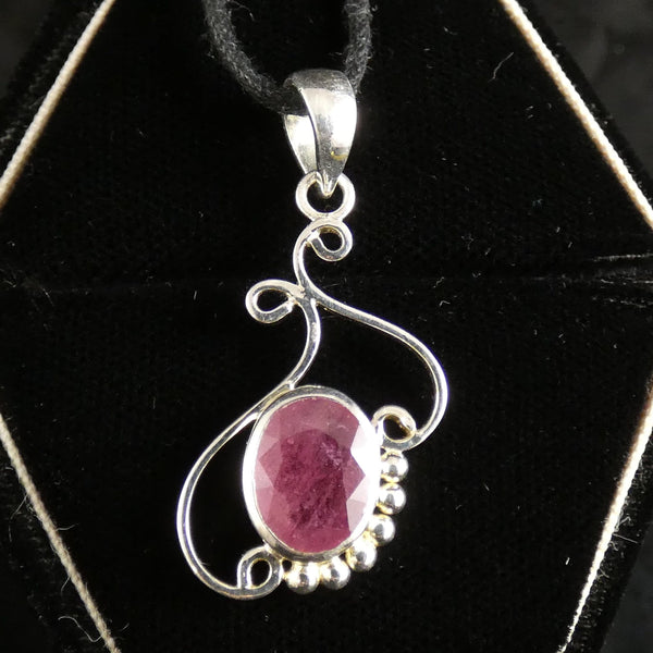 Faceted Ruby Sterling Silver Pendant (771)