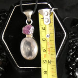 Faceted Rose Quartz & Rough Ruby Sterling Silver Pendant (785)