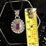 Faceted Ruby Sterling Silver Pendant (784)