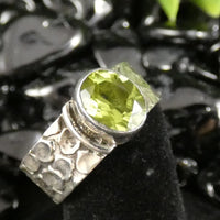 Faceted Peridot Sterling Silver Ring (Size 8) (800)
