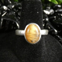 Rutilated Quartz Sterling Silver Ring (Size 8.5) (520)
