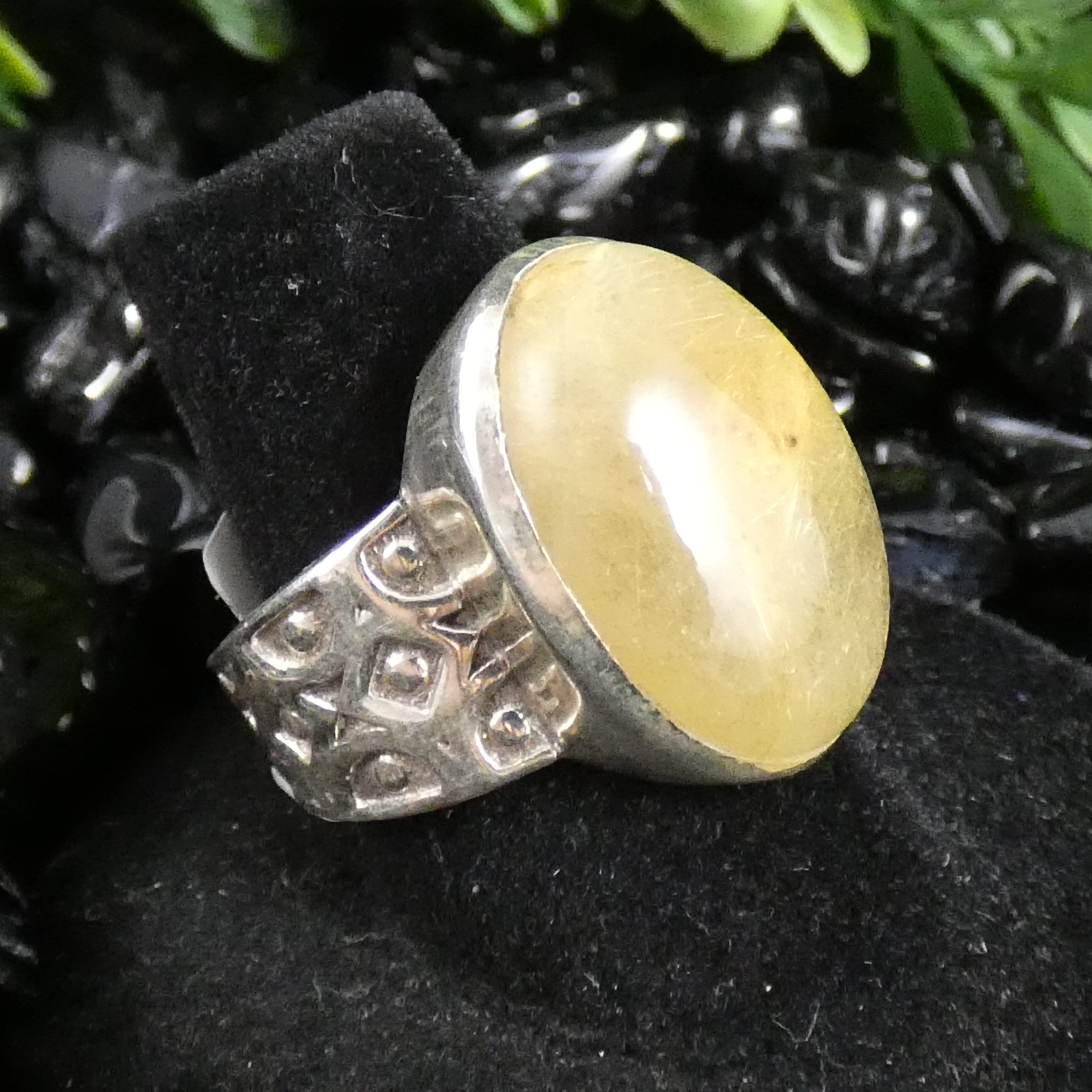 Rutilated Quartz Sterling Silver Ring (Size 8) (521)