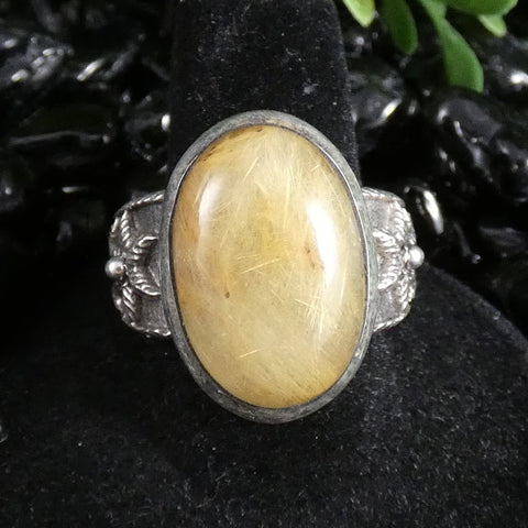 Rutilated Quartz Sterling Silver Ring (Size 10) (522)