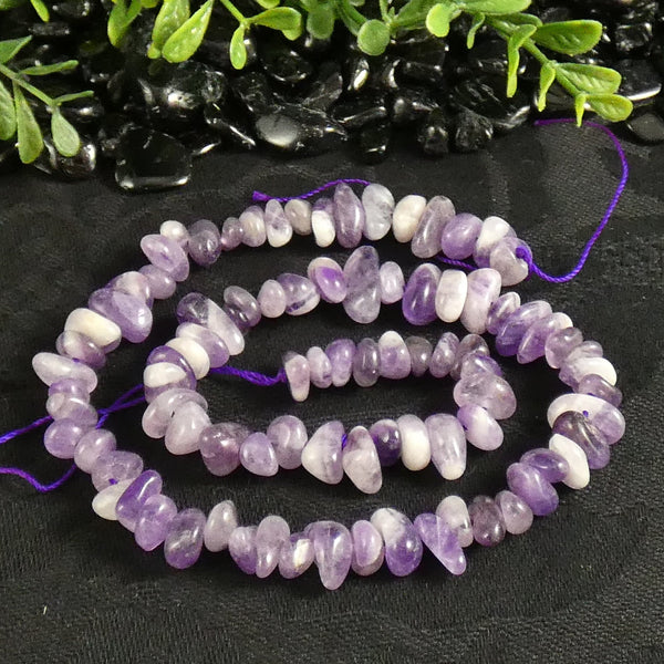 Chevron Amethyst Tumbled Chip Beads (various)