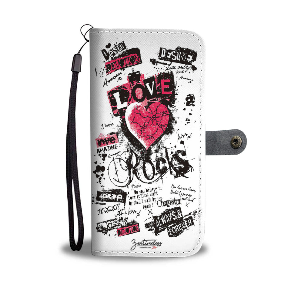 LOVE Is Rock Wallet Phone Case