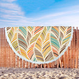 Coconut Leaves Custom Printed Round Beach Blanket