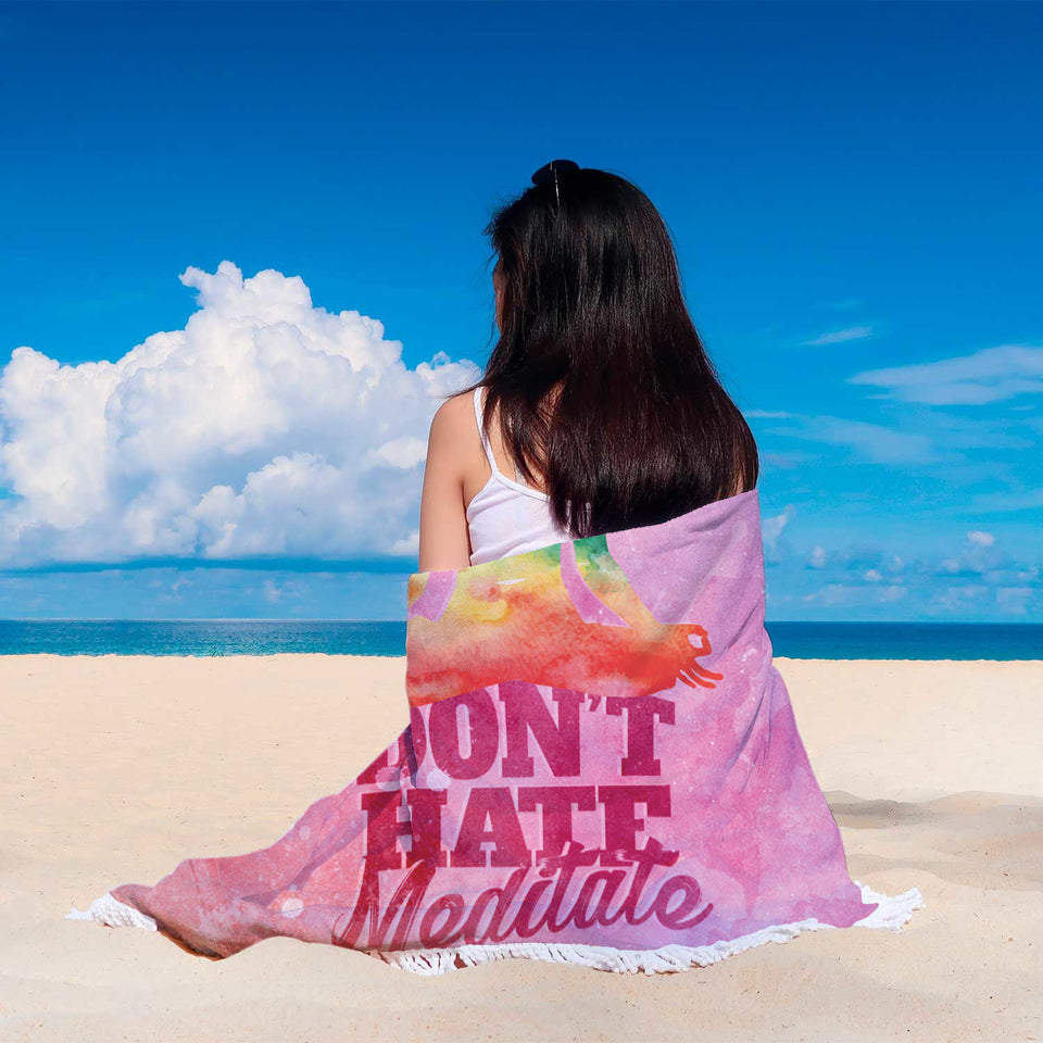 Don't Hate Meditate Custom Round Beach Blanket