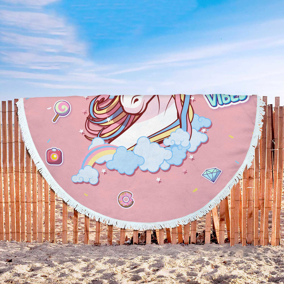Good Vibes Unicorn Custom Round Beach Blanket