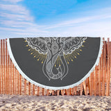 Elephant Lovers Custom Round Beach Blanket