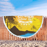 Summer Shine On Custom Round Beach Blanket