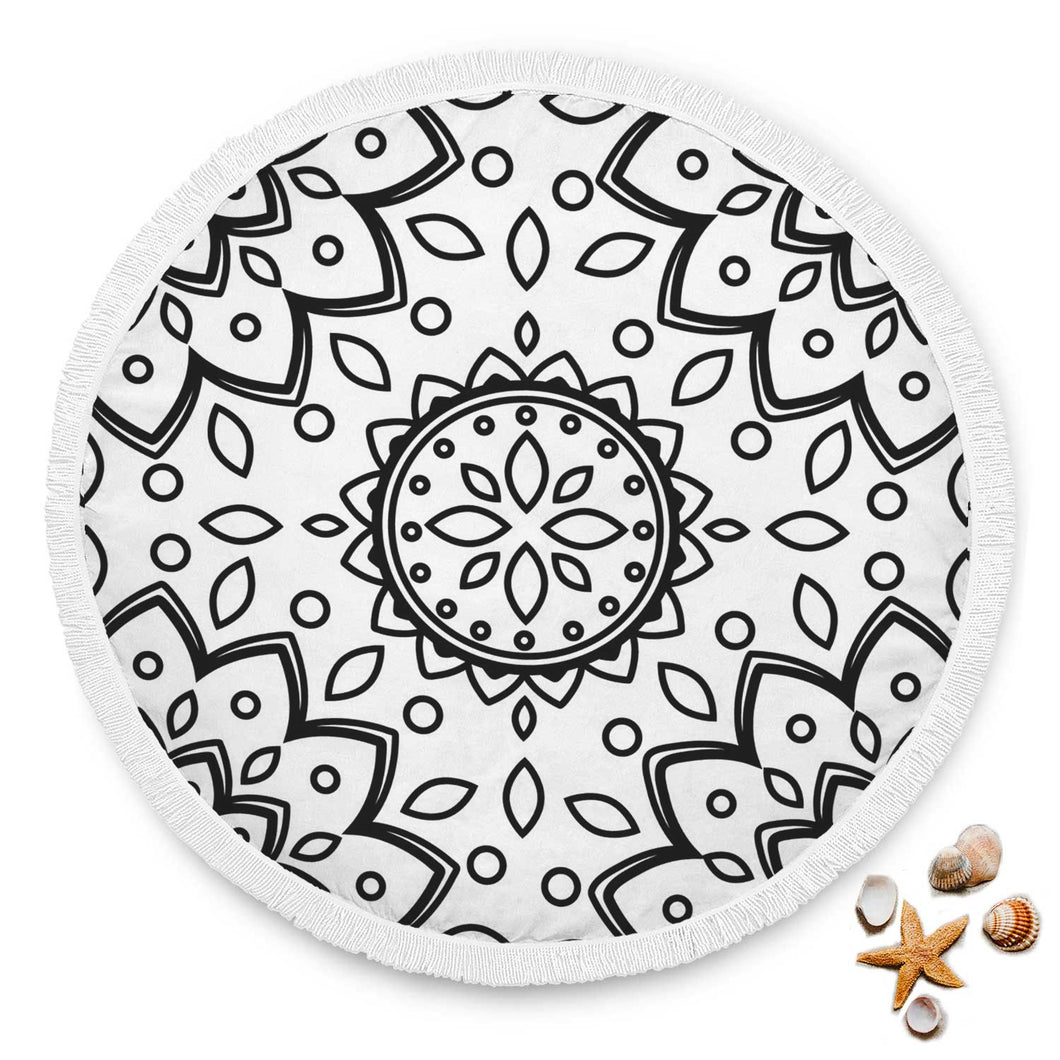 White Boho Custom Round Beach Blanket
