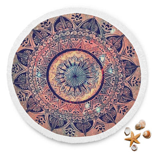 Mandala Design 1 Custom Round Beach Blanket