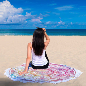 Mandala Design 4 Custom Round Beach Blanket