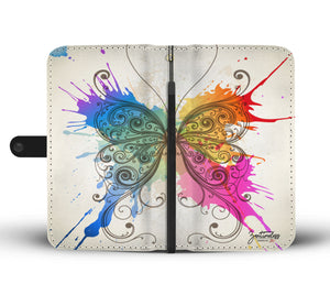 Abstract Colour Art Butterfly Wallet Phone Case