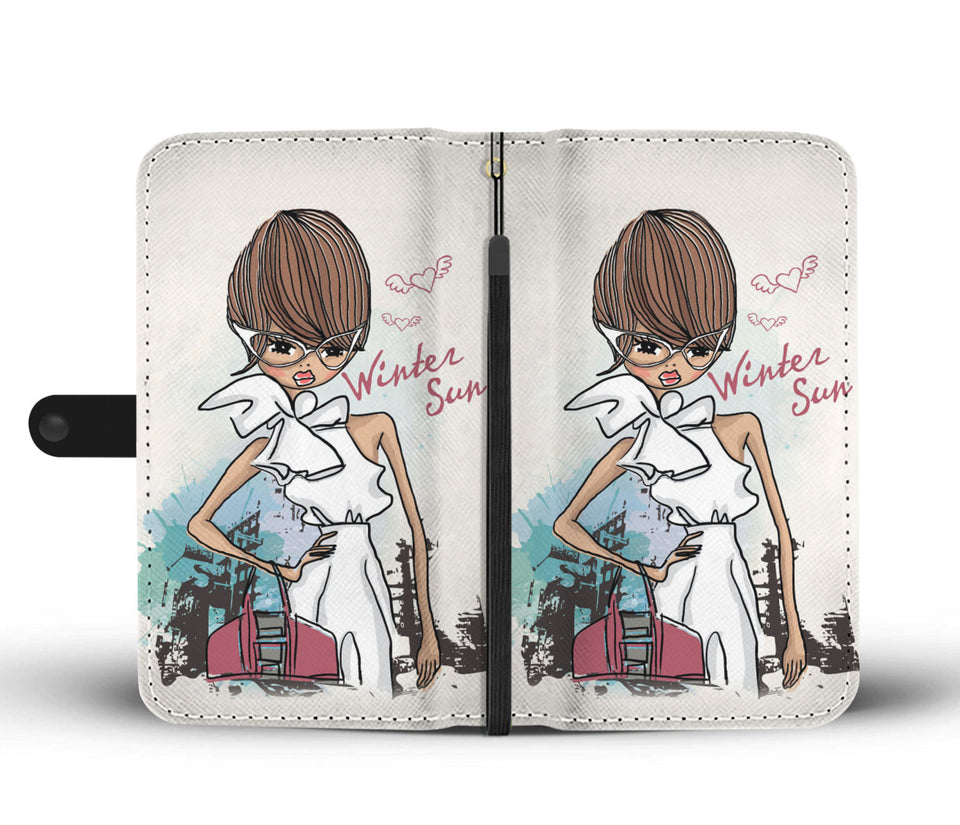 Winter Sun Fashion Girl Wallet Phone Case