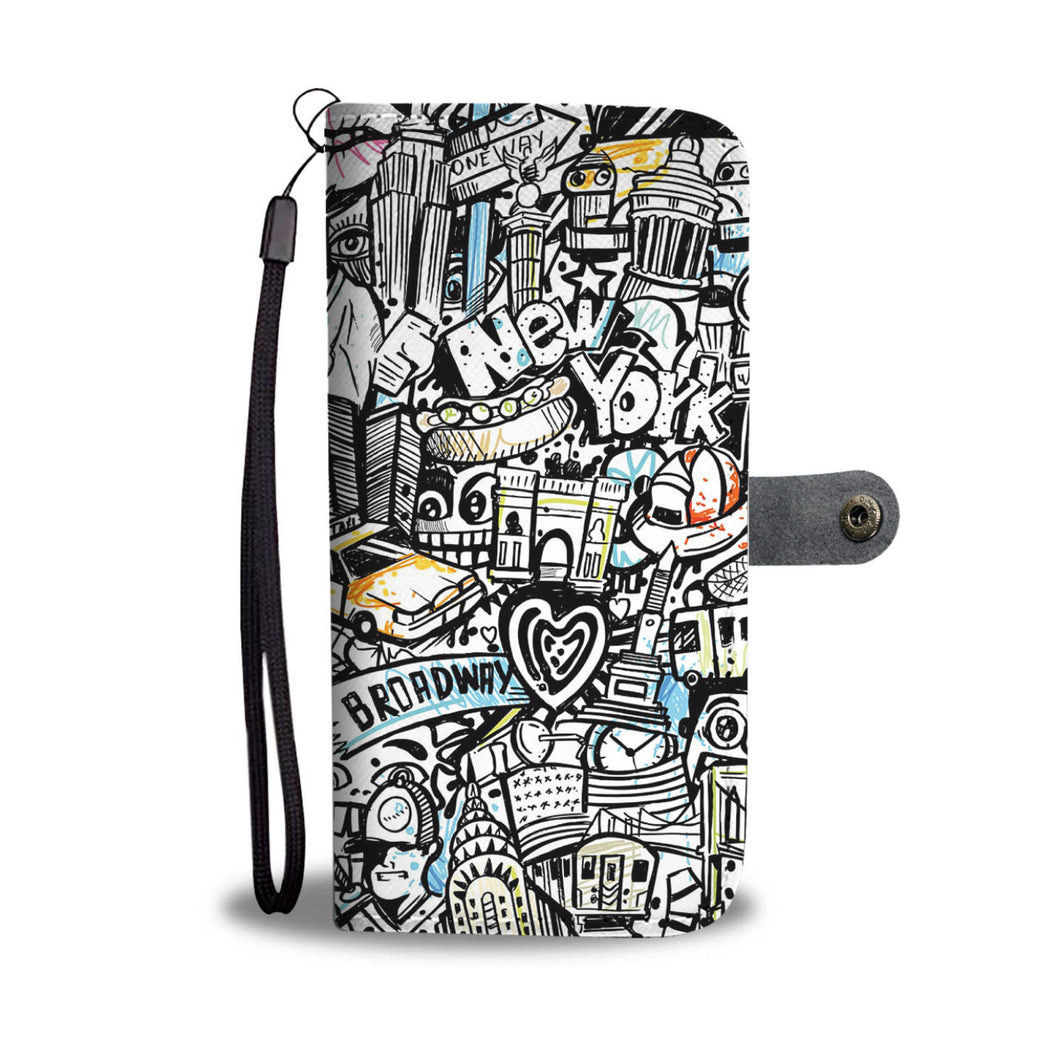 New York Graffiti Wallet Phone Case