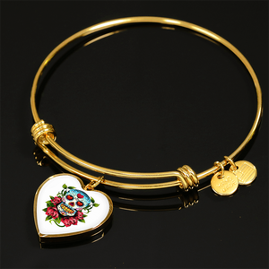 Red Rose Sugar Skull Design 2 Custom Charm Bangle