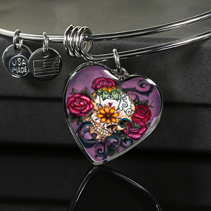 Red Rose Sugar Skull Design 1 Custom Charm Bangle