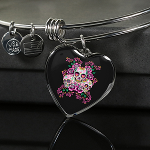 Red Rose Sugar Skull Design 3 Custom Charm Bangle