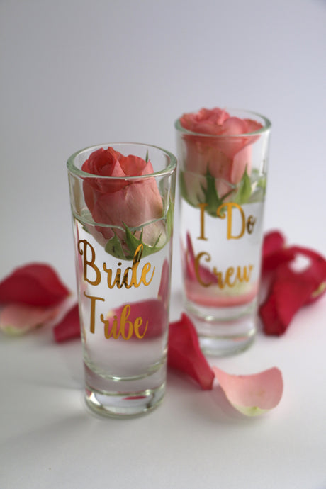 I Do Crew and Bride Tribe Shot glasses perfect for a bachelorette or hens night!
