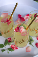 "HiBall glasses perfect for cocktails. Personalised with ""Bride"", ""Maid of Honor"" and ""Bridesmaid"" - perfect gifts for the bridal party. Matte Gold, metallic Gold."