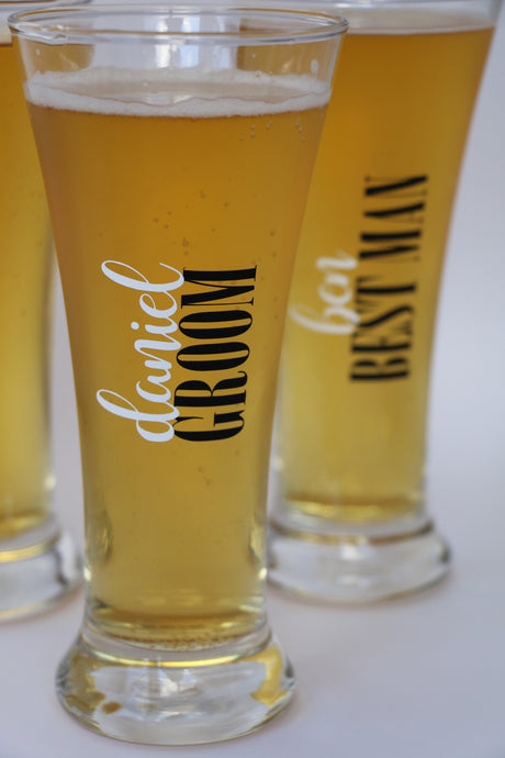 personalised wedding beer glasses