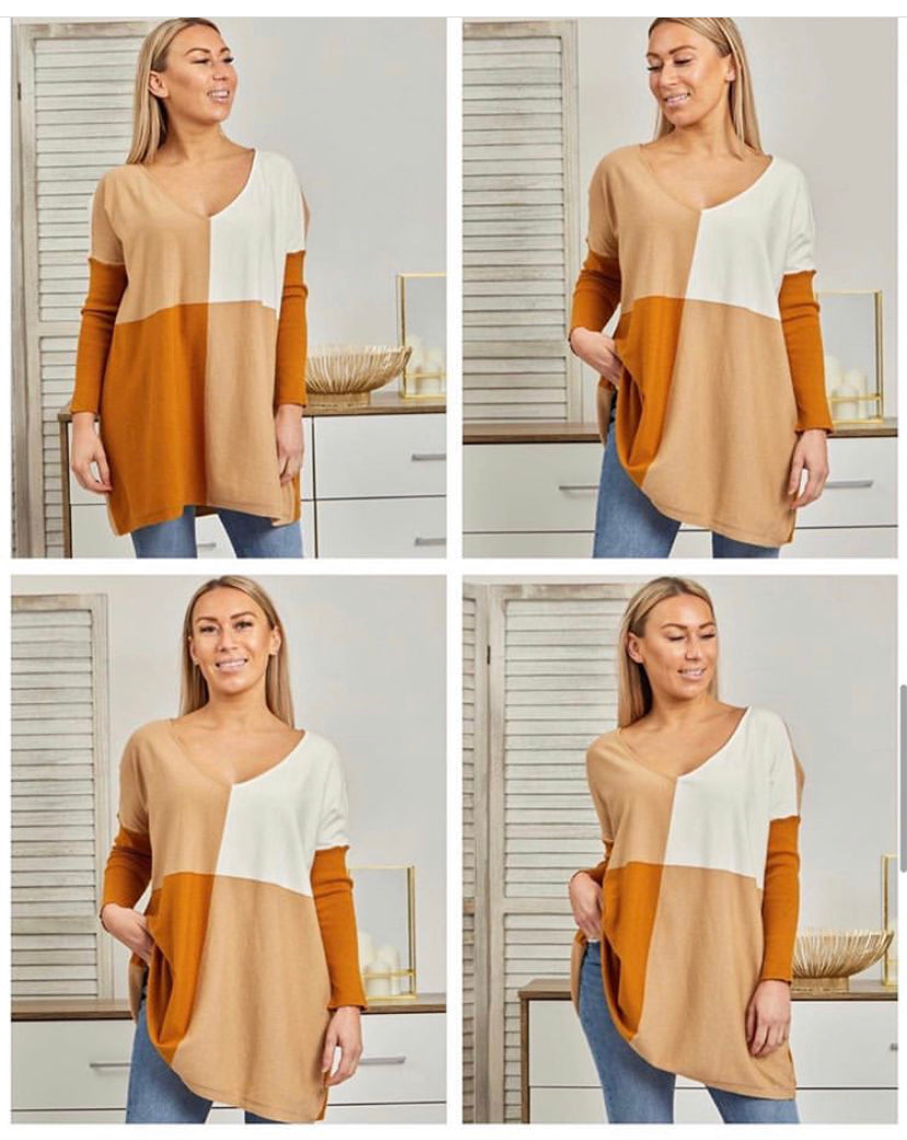 Kelly Block V Pull Over Camel