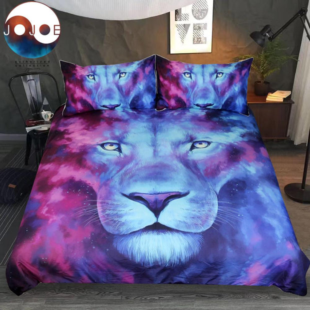 Lion Duvet Cover With Pillowcase Blue and Red Bed Set 3pcs