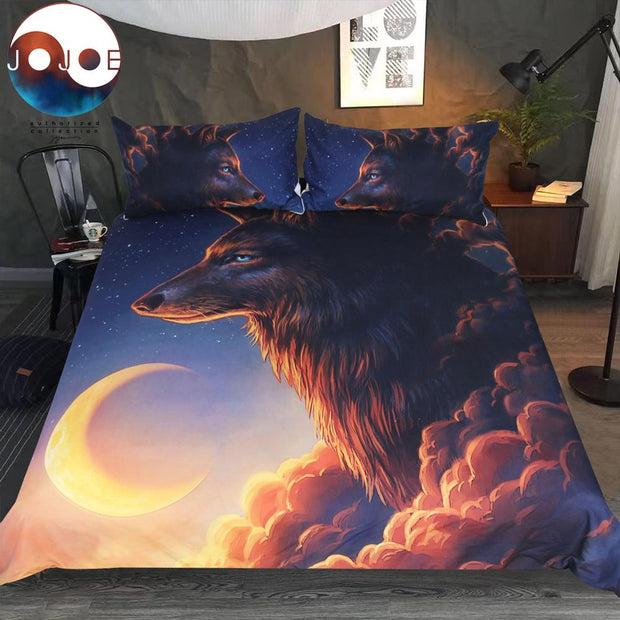Night Guardian Wolf Cover With Pillowcases Could Bed Cover 3-Piece Bedclothes