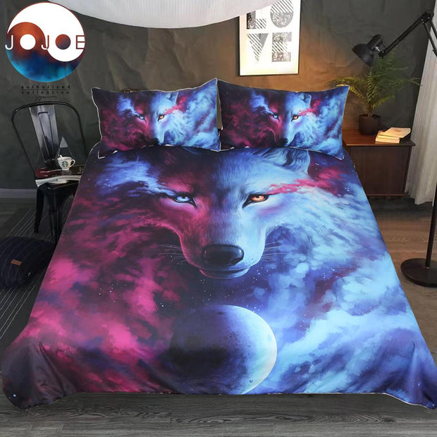 Wolf 3D Duvet Cover With Pillowcases Wolf Eye Bed Set 3pcs