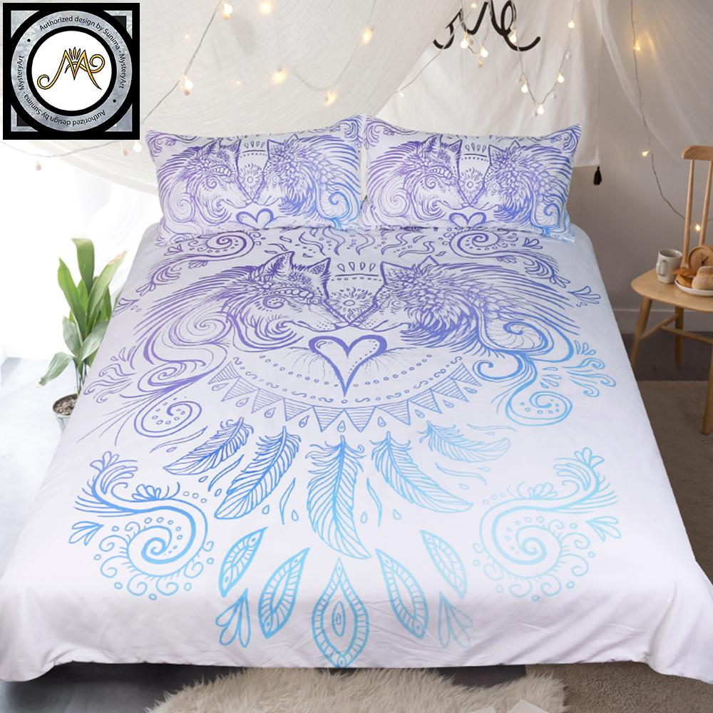 Wolves Heart  Blue and White Duvet Cover Feathers Printed Bed Set 3-Piece