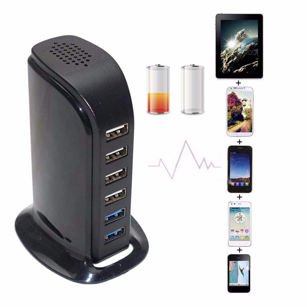 6-Port USB Charging Station for Smart Phones and Tablets