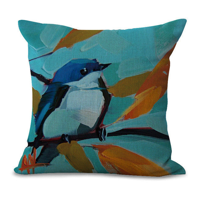 Oil Painting Style Birdie Pillow