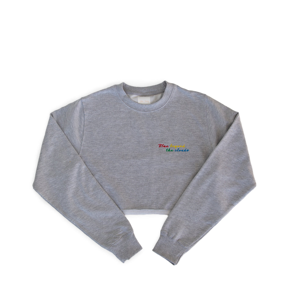 'Blue Beyond The Clouds' Crop Longsleeve Sweater