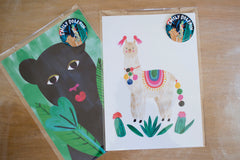 Watercolour hand painted panther print is digitally printed onto a recycled card