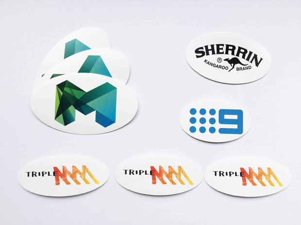 Oval shaped stickers are great for your local sport club stickers, just like a Footy club