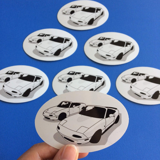 Handdrawn designs printed on a sticker