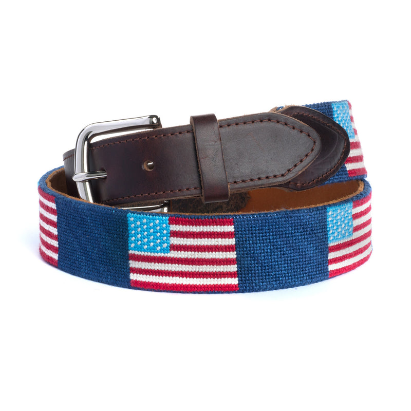 Yellow Dog® American Flag Needlepoint Belt