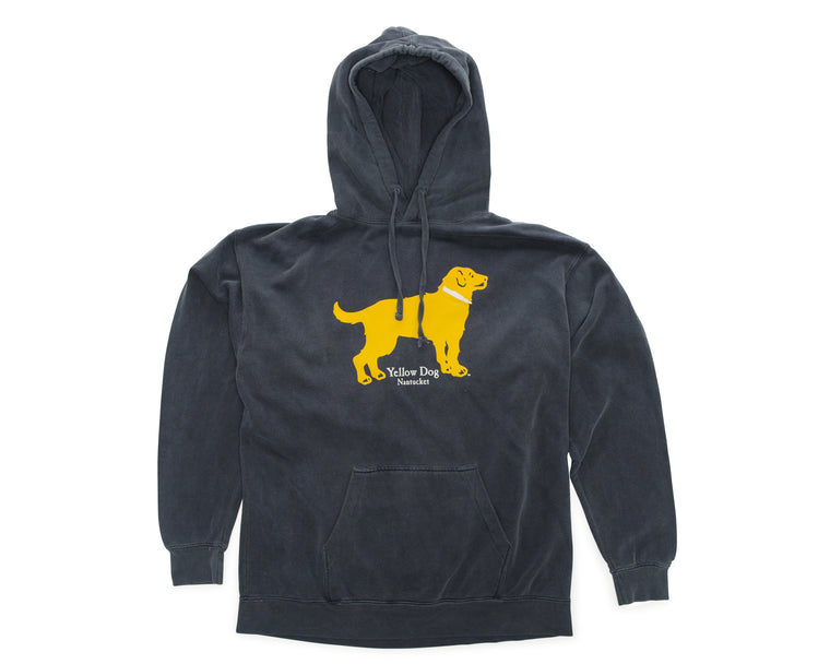 Yellow Dog Pullover Hooded Sweatshirt Washed Denim Blue