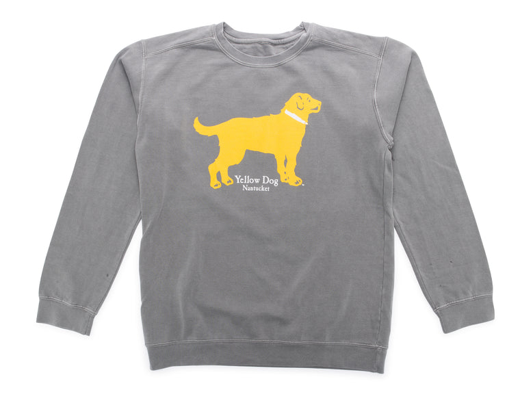 Yellow Dog Crew Neck Sweatshirt Ocean Washed Island Grey