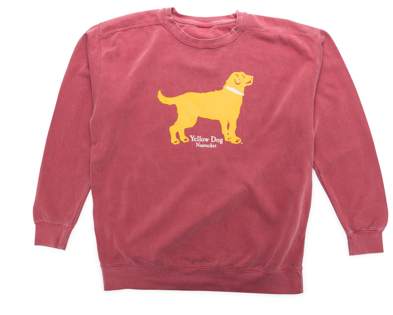 Yellow Dog Nantucket Crew Neck Sweatshirt Washed Nantucket Red Unisex Fit