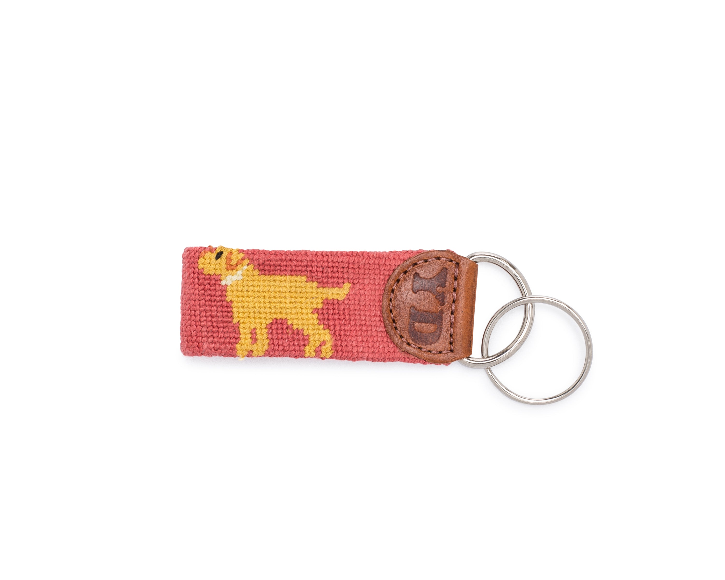 Yellow Dog Preppy Retriever Needlepoint Key fob