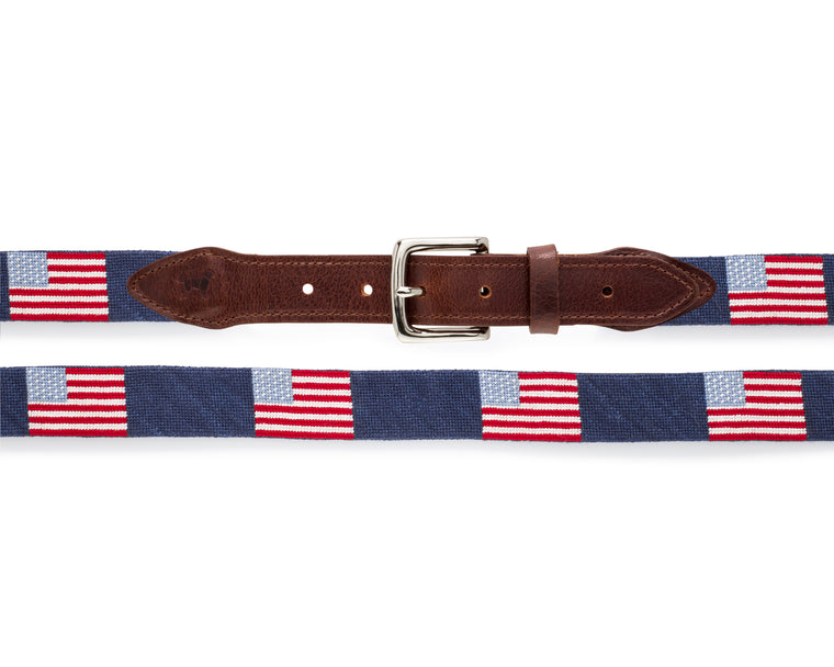 Yellow Dog® American Flag Needlepoint Belt Limited Edition