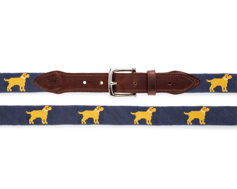 Yellow Dog® Golden Retriever Needlepoint Belt