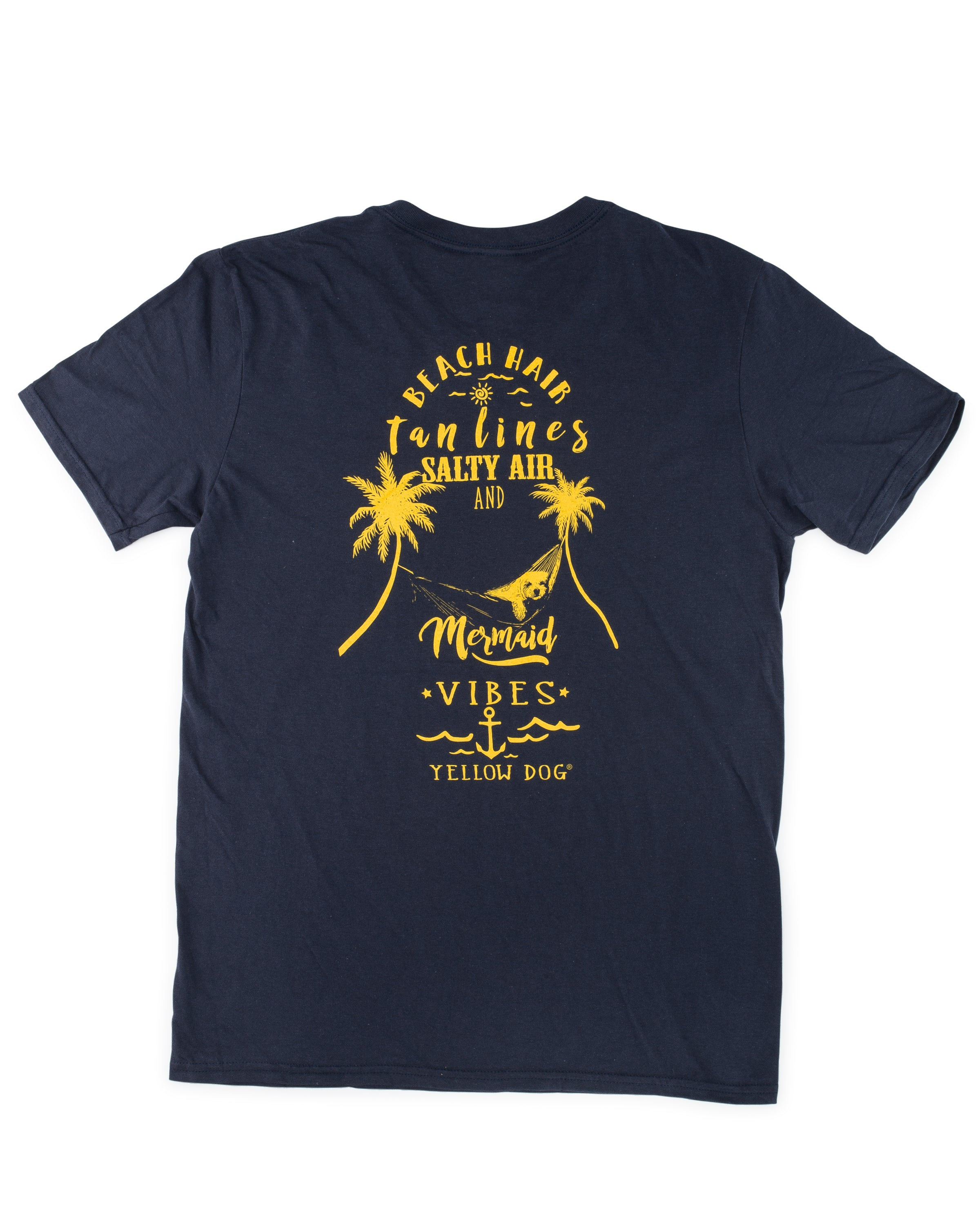 Short Sleeve V-Neck t-shirt Yellow Dog Collection: Beach Hair