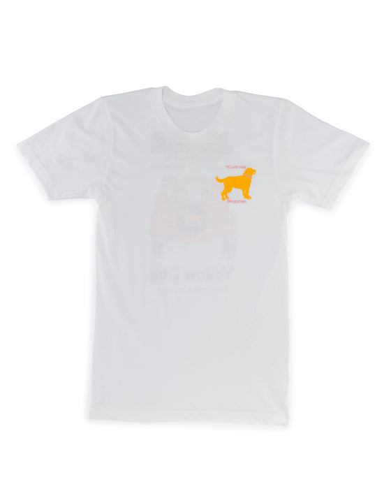 White Short Sleeve t-shirt Yellow Dog Collection: Jeep Hair