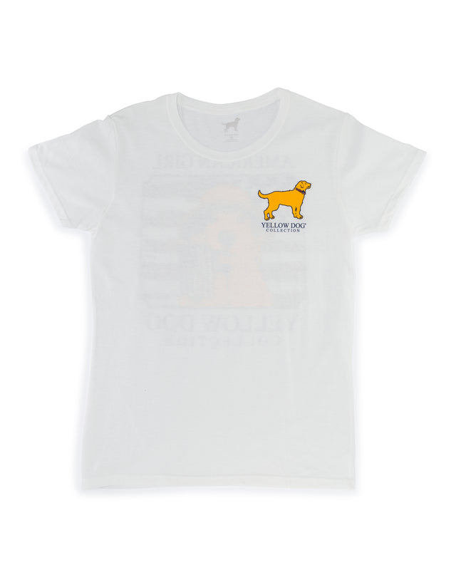 Women's Short Sleeve t-shirt Yellow Dog Collection: American Girl