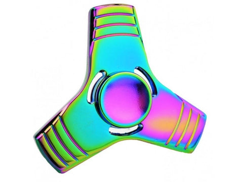 Fidget Spinner 3-Wing Stahl Anti-Stress 3-Flügel Spinner Rainbow